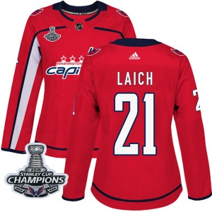 Washington Capitals Brooks Laich Official Red Adidas Authentic Women's Home 2018 Stanley Cup Champions Patch NHL Hockey Jersey