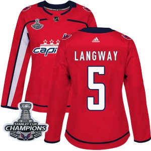Washington Capitals Rod Langway Official Red Adidas Authentic Women's Home 2018 Stanley Cup Champions Patch NHL Hockey Jersey