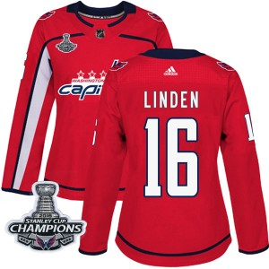 Washington Capitals Trevor Linden Official Red Adidas Authentic Women's Home 2018 Stanley Cup Champions Patch NHL Hockey Jersey
