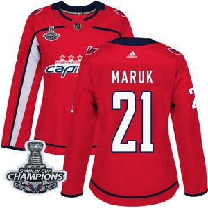 Washington Capitals Dennis Maruk Official Red Adidas Authentic Women's Home 2018 Stanley Cup Champions Patch NHL Hockey Jersey