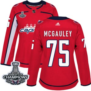 Washington Capitals Tim McGauley Official Red Adidas Authentic Women's Home 2018 Stanley Cup Champions Patch NHL Hockey Jersey