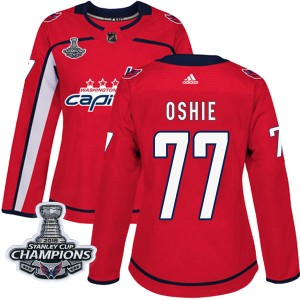 Washington Capitals T.J. Oshie Official Red Adidas Authentic Women's Home 2018 Stanley Cup Champions Patch NHL Hockey Jersey