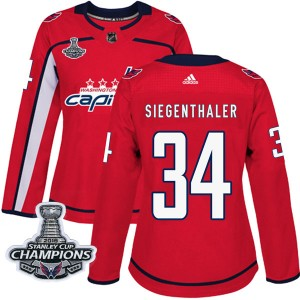 Washington Capitals Jonas Siegenthaler Official Red Adidas Authentic Women's Home 2018 Stanley Cup Champions Patch NHL Hockey Je