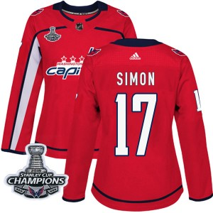 Washington Capitals Chris Simon Official Red Adidas Authentic Women's Home 2018 Stanley Cup Champions Patch NHL Hockey Jersey