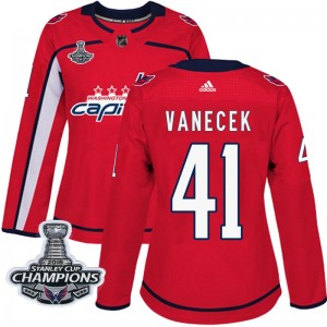 Washington Capitals Vitek Vanecek Official Red Adidas Authentic Women's Home 2018 Stanley Cup Champions Patch NHL Hockey Jersey