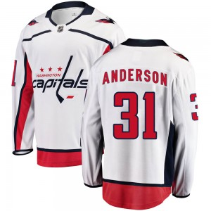 Washington Capitals Craig Anderson Official White Fanatics Branded Breakaway Adult Away NHL Hockey Jersey
