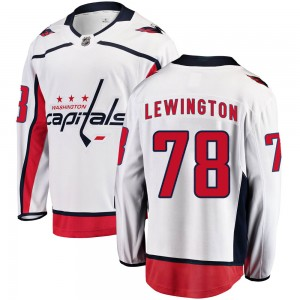 Washington Capitals Tyler Lewington Official White Fanatics Branded Breakaway Adult ized Away NHL Hockey Jersey