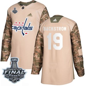 Washington Capitals Nicklas Backstrom Official Camo Adidas Authentic Youth Veterans Day Practice 2018 Stanley Cup Final Patch NH