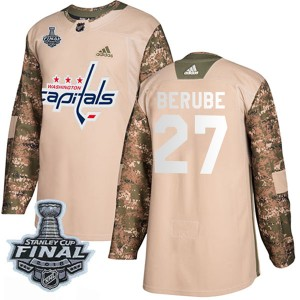 Washington Capitals Craig Berube Official Camo Adidas Authentic Youth Veterans Day Practice 2018 Stanley Cup Final Patch NHL Hoc