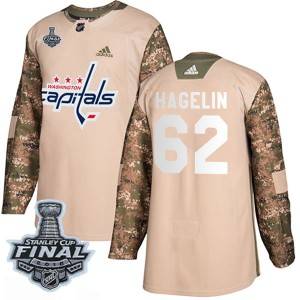 Washington Capitals Carl Hagelin Official Camo Adidas Authentic Youth Veterans Day Practice 2018 Stanley Cup Final Patch NHL Hoc