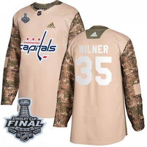 Washington Capitals Parker Milner Official Camo Adidas Authentic Youth Veterans Day Practice 2018 Stanley Cup Final Patch NHL Ho