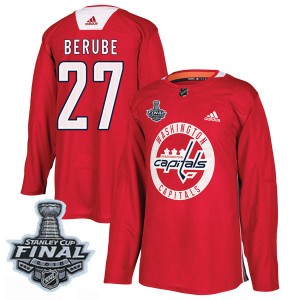 Washington Capitals Craig Berube Official Red Adidas Authentic Adult Practice 2018 Stanley Cup Final Patch NHL Hockey Jersey