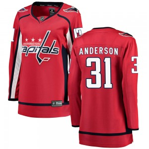 Washington Capitals Craig Anderson Official Red Fanatics Branded Breakaway Women's Home NHL Hockey Jersey