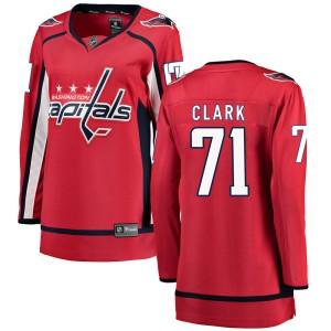 Washington Capitals Kody Clark Official Red Fanatics Branded Breakaway Women's Home NHL Hockey Jersey