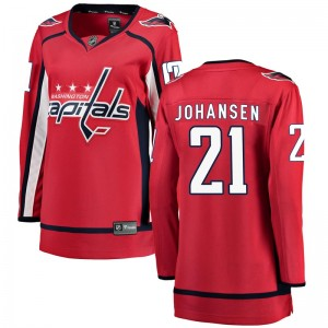 Washington Capitals Lucas Johansen Official Red Fanatics Branded Breakaway Women's Home NHL Hockey Jersey