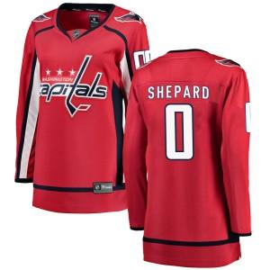 Washington Capitals Hunter Shepard Official Red Fanatics Branded Breakaway Women's Home NHL Hockey Jersey