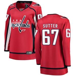 Washington Capitals Riley Sutter Official Red Fanatics Branded Breakaway Women's Home NHL Hockey Jersey