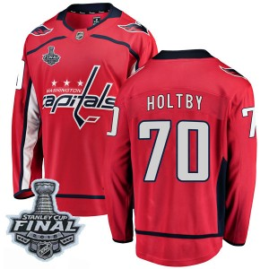 Washington Capitals Braden Holtby Official Red Fanatics Branded Breakaway Adult Home 2018 Stanley Cup Final Patch NHL Hockey Jer