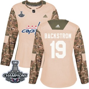 Washington Capitals Nicklas Backstrom Official Camo Adidas Authentic Women's Veterans Day Practice 2018 Stanley Cup Champions Pa