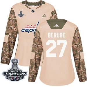 Washington Capitals Craig Berube Official Camo Adidas Authentic Women's Veterans Day Practice 2018 Stanley Cup Champions Patch N