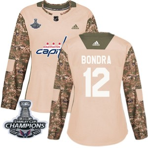 Washington Capitals Peter Bondra Official Camo Adidas Authentic Women's Veterans Day Practice 2018 Stanley Cup Champions Patch N