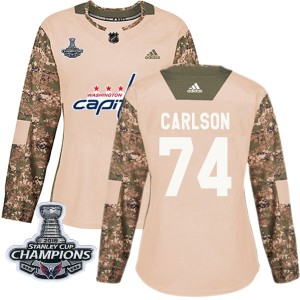 Washington Capitals John Carlson Official Camo Adidas Authentic Women's Veterans Day Practice 2018 Stanley Cup Champions Patch N