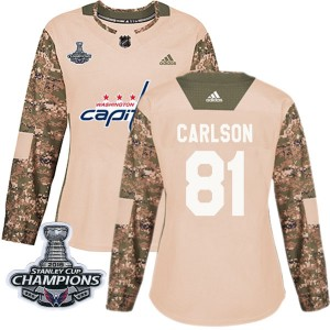 Washington Capitals Adam Carlson Official Camo Adidas Authentic Women's Veterans Day Practice 2018 Stanley Cup Champions Patch N