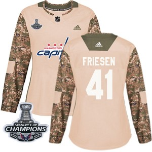 Washington Capitals Jeff Friesen Official Camo Adidas Authentic Women's Veterans Day Practice 2018 Stanley Cup Champions Patch N