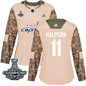 Washington Capitals Jeff Halpern Official Camo Adidas Authentic Women's Veterans Day Practice 2018 Stanley Cup Champions Patch N