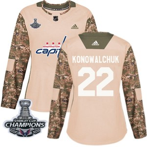 Washington Capitals Steve Konowalchuk Official Camo Adidas Authentic Women's Veterans Day Practice 2018 Stanley Cup Champions Pa