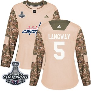 Washington Capitals Rod Langway Official Camo Adidas Authentic Women's Veterans Day Practice 2018 Stanley Cup Champions Patch NH