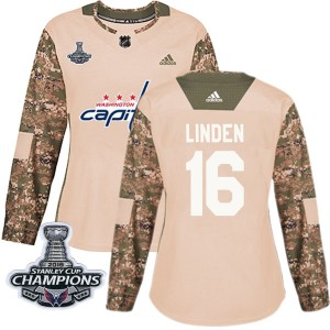 Washington Capitals Trevor Linden Official Camo Adidas Authentic Women's Veterans Day Practice 2018 Stanley Cup Champions Patch