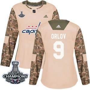 Washington Capitals Dmitry Orlov Official Camo Adidas Authentic Women's Veterans Day Practice 2018 Stanley Cup Champions Patch N