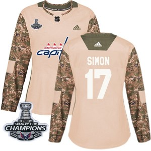 Washington Capitals Chris Simon Official Camo Adidas Authentic Women's Veterans Day Practice 2018 Stanley Cup Champions Patch NH