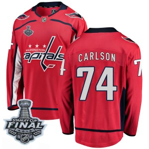 Washington Capitals John Carlson Official Red Fanatics Branded Breakaway Youth Home 2018 Stanley Cup Final Patch NHL Hockey Jers