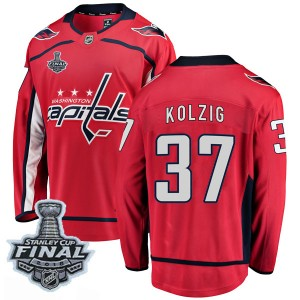 Washington Capitals Olaf Kolzig Official Red Fanatics Branded Breakaway Youth Home 2018 Stanley Cup Final Patch NHL Hockey Jerse