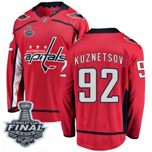 Washington Capitals Evgeny Kuznetsov Official Red Fanatics Branded Breakaway Youth Home 2018 Stanley Cup Final Patch NHL Hockey