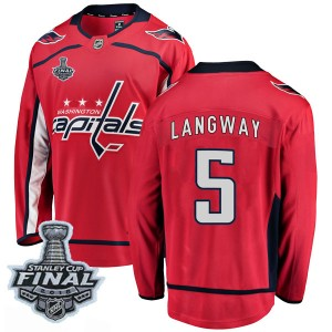 Washington Capitals Rod Langway Official Red Fanatics Branded Breakaway Youth Home 2018 Stanley Cup Final Patch NHL Hockey Jerse