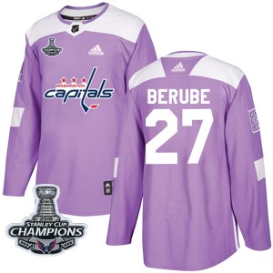 Washington Capitals Craig Berube Official Purple Adidas Authentic Youth Fights Cancer Practice 2018 Stanley Cup Champions Patch