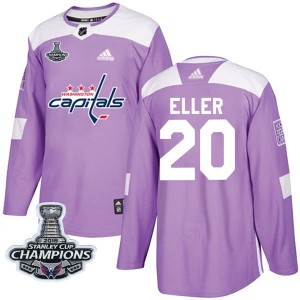Washington Capitals Lars Eller Official Purple Adidas Authentic Youth Fights Cancer Practice 2018 Stanley Cup Champions Patch NH