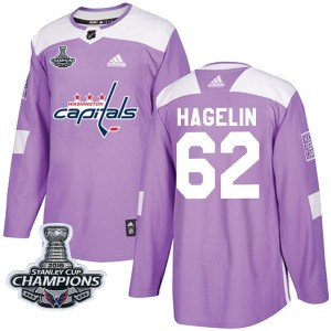 Washington Capitals Carl Hagelin Official Purple Adidas Authentic Youth Fights Cancer Practice 2018 Stanley Cup Champions Patch