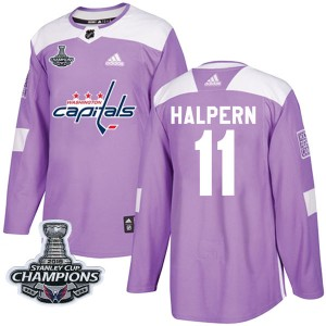 Washington Capitals Jeff Halpern Official Purple Adidas Authentic Youth Fights Cancer Practice 2018 Stanley Cup Champions Patch