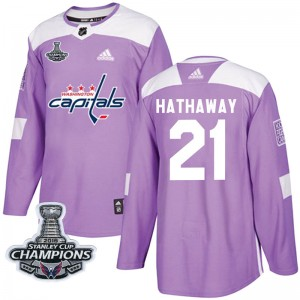 Washington Capitals Garnet Hathaway Official Purple Adidas Authentic Youth Fights Cancer Practice 2018 Stanley Cup Champions Pat