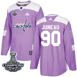 Washington Capitals Joe Juneau Official Purple Adidas Authentic Youth Fights Cancer Practice 2018 Stanley Cup Champions Patch NH