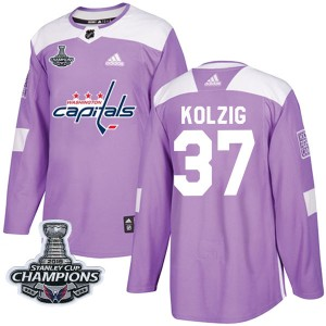 Washington Capitals Olaf Kolzig Official Purple Adidas Authentic Youth Fights Cancer Practice 2018 Stanley Cup Champions Patch N