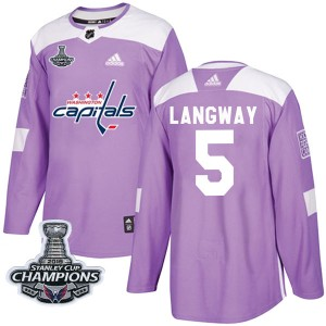 Washington Capitals Rod Langway Official Purple Adidas Authentic Youth Fights Cancer Practice 2018 Stanley Cup Champions Patch N