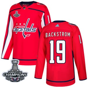 Washington Capitals Nicklas Backstrom Official Red Adidas Authentic Adult Home 2018 Stanley Cup Champions Patch NHL Hockey Jerse