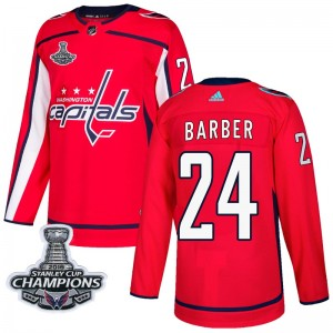 Washington Capitals Riley Barber Official Red Adidas Authentic Adult Home 2018 Stanley Cup Champions Patch NHL Hockey Jersey
