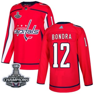 Washington Capitals Peter Bondra Official Red Adidas Authentic Adult Home 2018 Stanley Cup Champions Patch NHL Hockey Jersey