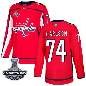 Washington Capitals John Carlson Official Red Adidas Authentic Adult Home 2018 Stanley Cup Champions Patch NHL Hockey Jersey